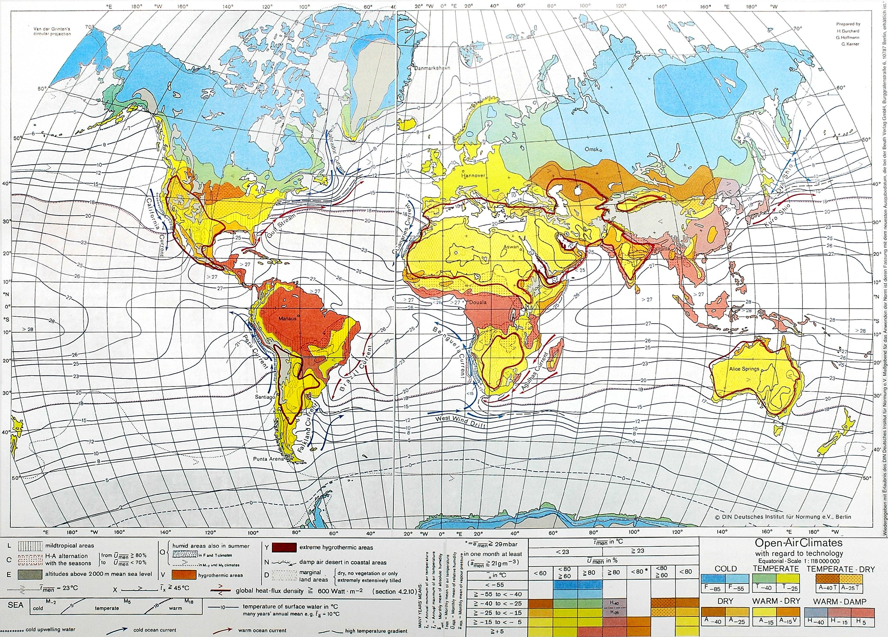 Humidity World Map.Climate And Extremes Of Temperature And Humidity Around The World