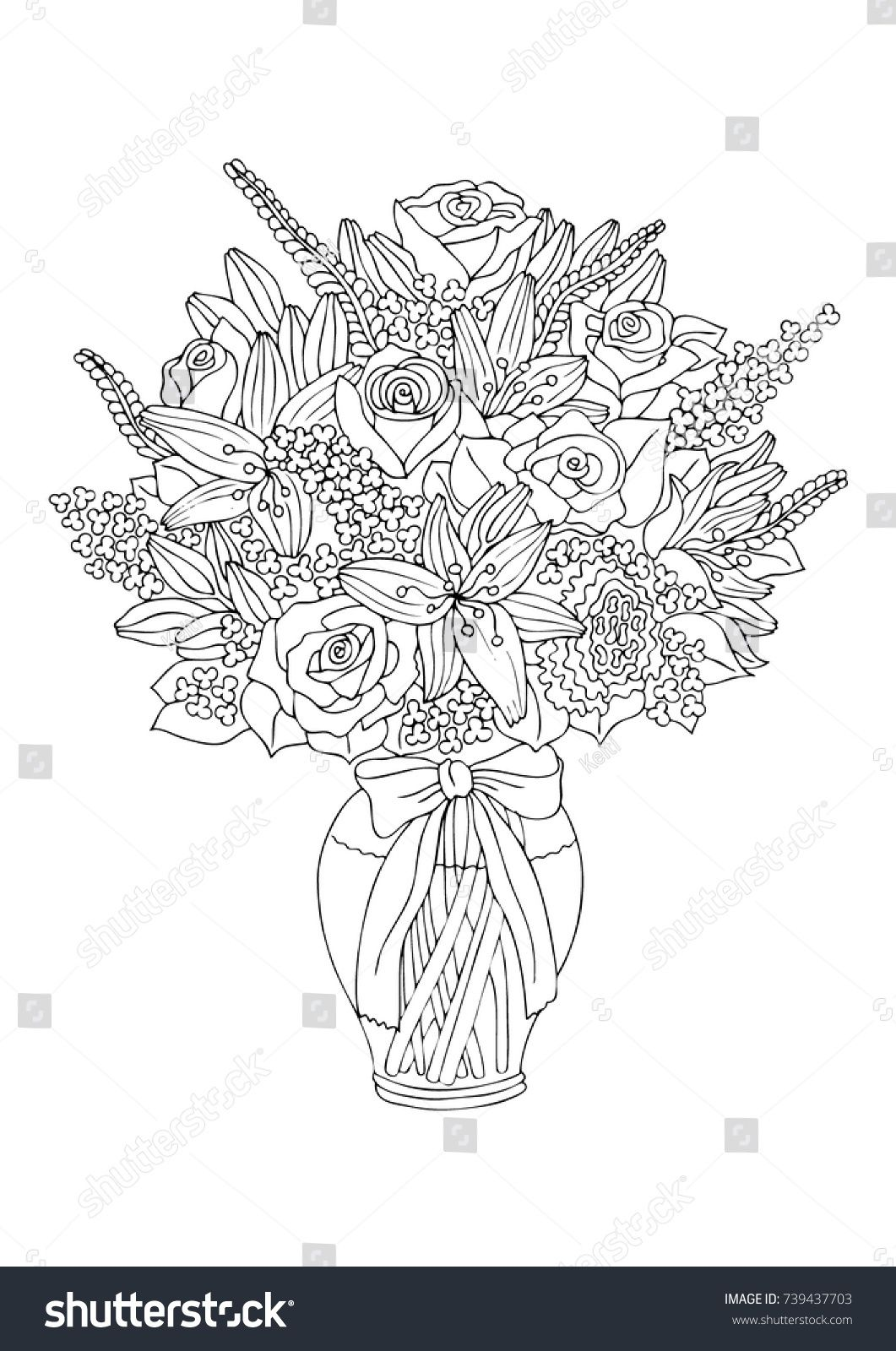 Vase with flowers hand drawn picture sketch for antistress adult