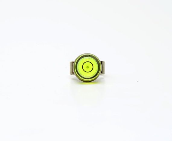 Zero Bubble Level Ring Black Yellow Adjustable By Designgali 11 00 Industrial Design Rings Black Rings Unique Jewelry Designs