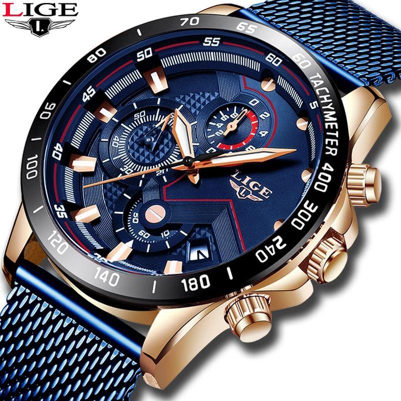 2019 New Lige Blue Casual Mesh Belt Fashion Quartz Gold Watch Mens Watches Top Brand Luxury Waterproof C In 2020 Mens Watches Waterproof Gold Watch Men Watches For Men