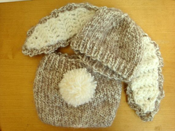 Floppy Ear Bunny Hat and Diaper Cover with by FiberFlowersAndBeads