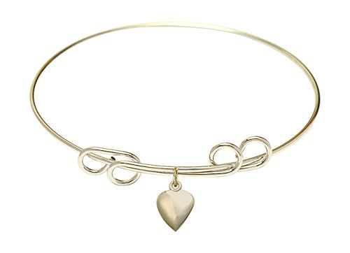 8 inch Round Double Loop Bangle Bracelet w Heart medal charm *** Be sure to check out this awesome product.