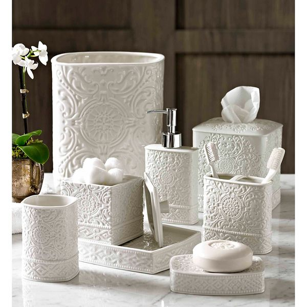Scroll Bath Accessory Collection Overstock Shopping The Best Prices On Bathroom Accessory Sets