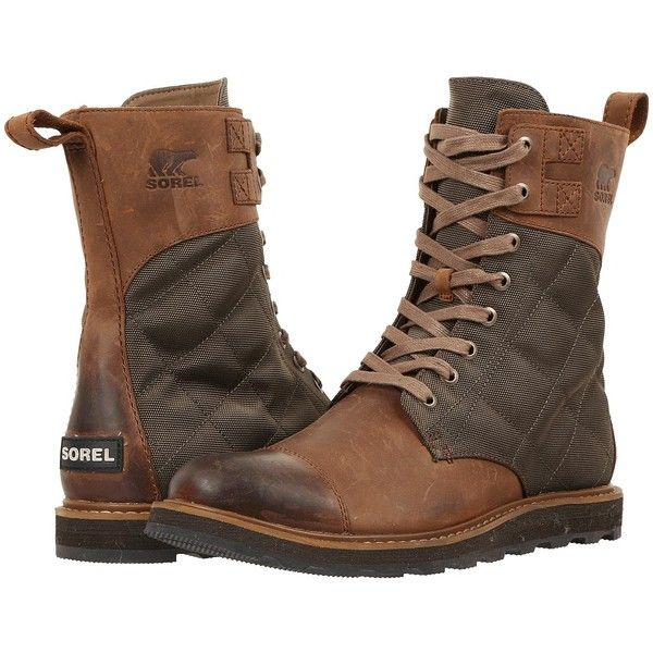 SOREL Madson Tall Lace (Autumn Bronze) Men's Waterproof Boots ($220) ❤  liked on Polyvore featuring men's fashion, men's shoes, men's boots, men's  work ...