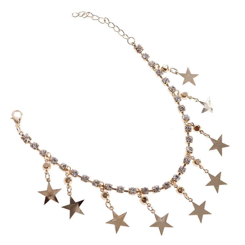 Get The Latest Fashion Jewelry Silvery Golden Beach Jewelry Star Bell Charms  Anklets Barefoot Foot Jewelry For Women Anklet Rhinestone Ankle Bracelets  Buy ... 6da7bda17be5