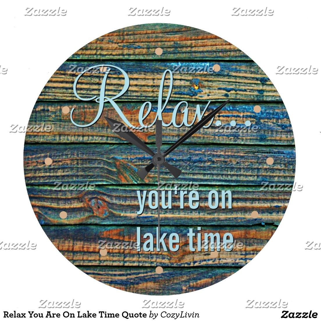 Relax You Are On Lake Time Quote Large Clock Quote wall Blue