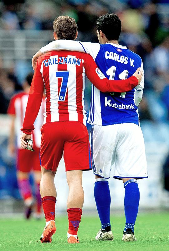 """"""" Antoine Griezmann & Carlos Vela during Real Sociedad vs Atletico Madrid match of La Liga Santander (05/11/2016) """""""