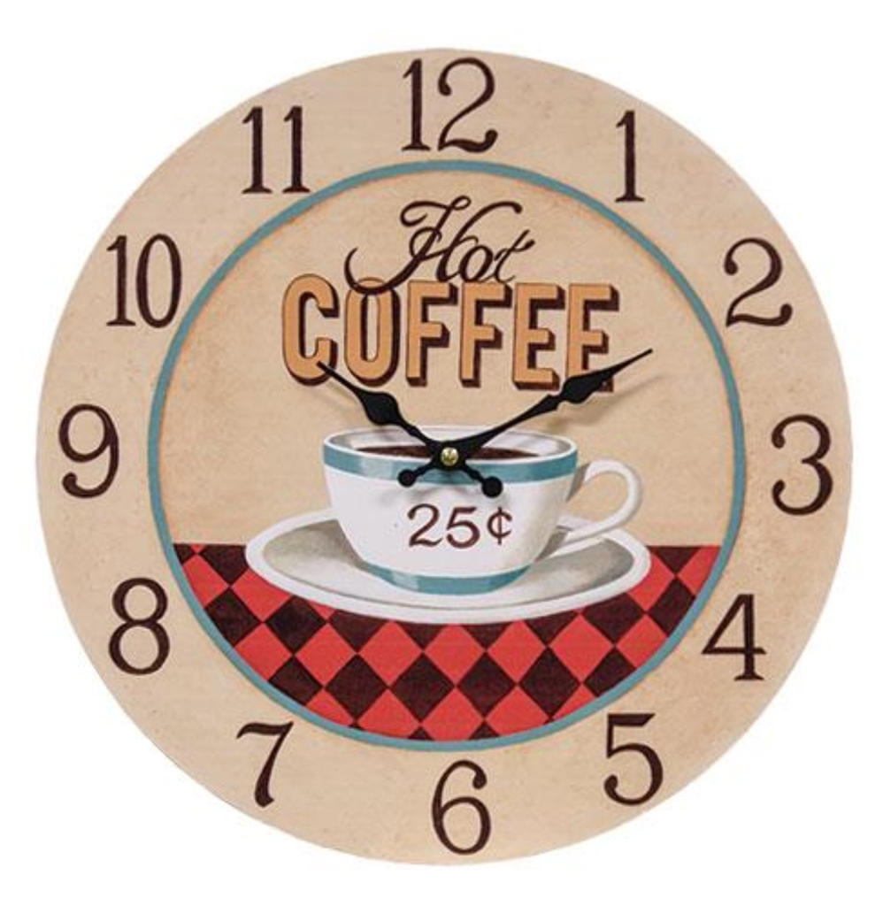 Hot Coffee 25 Clock Is Made Of Pressed Wood And Features A Cafe Style Design That Reads Hot Coffee 25 Clock Includes A Plast Coffee Clock Clock Wall Clock