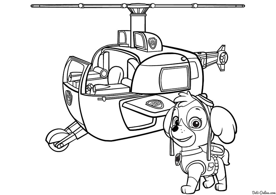 Раскраска Скай и спасательный вертолет | раскраски | Paw ...
