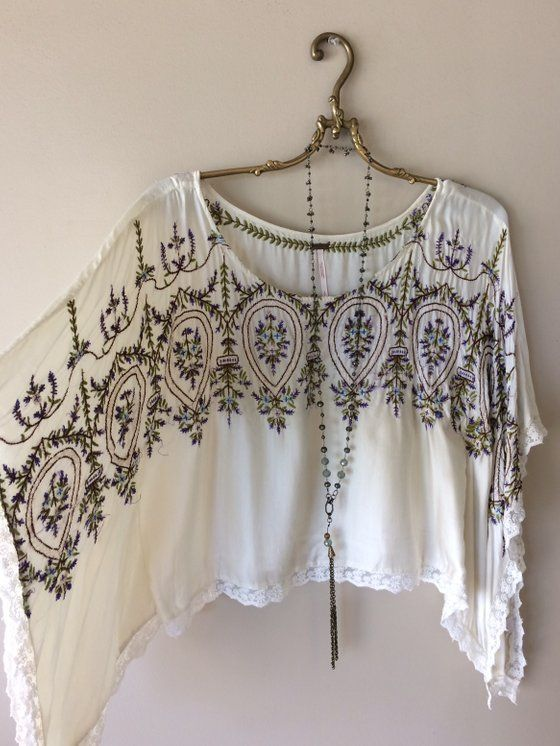 Image of FREE PEOPLE rare silk embroidery cape sleeve with violets gypsy kaftan 7