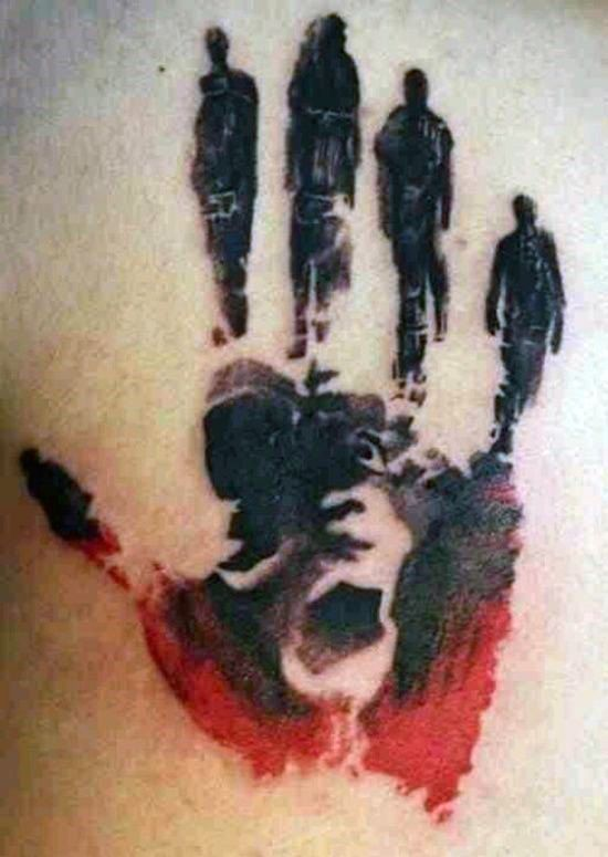 Abstract People Walking Handprint Mens Back Tattoo