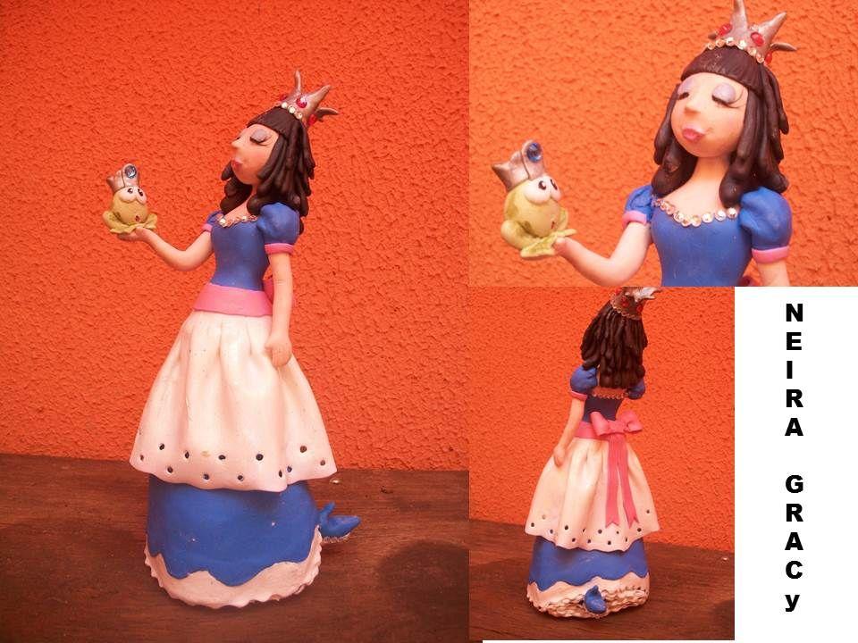 Topo de Bolo Princesa e Sapo