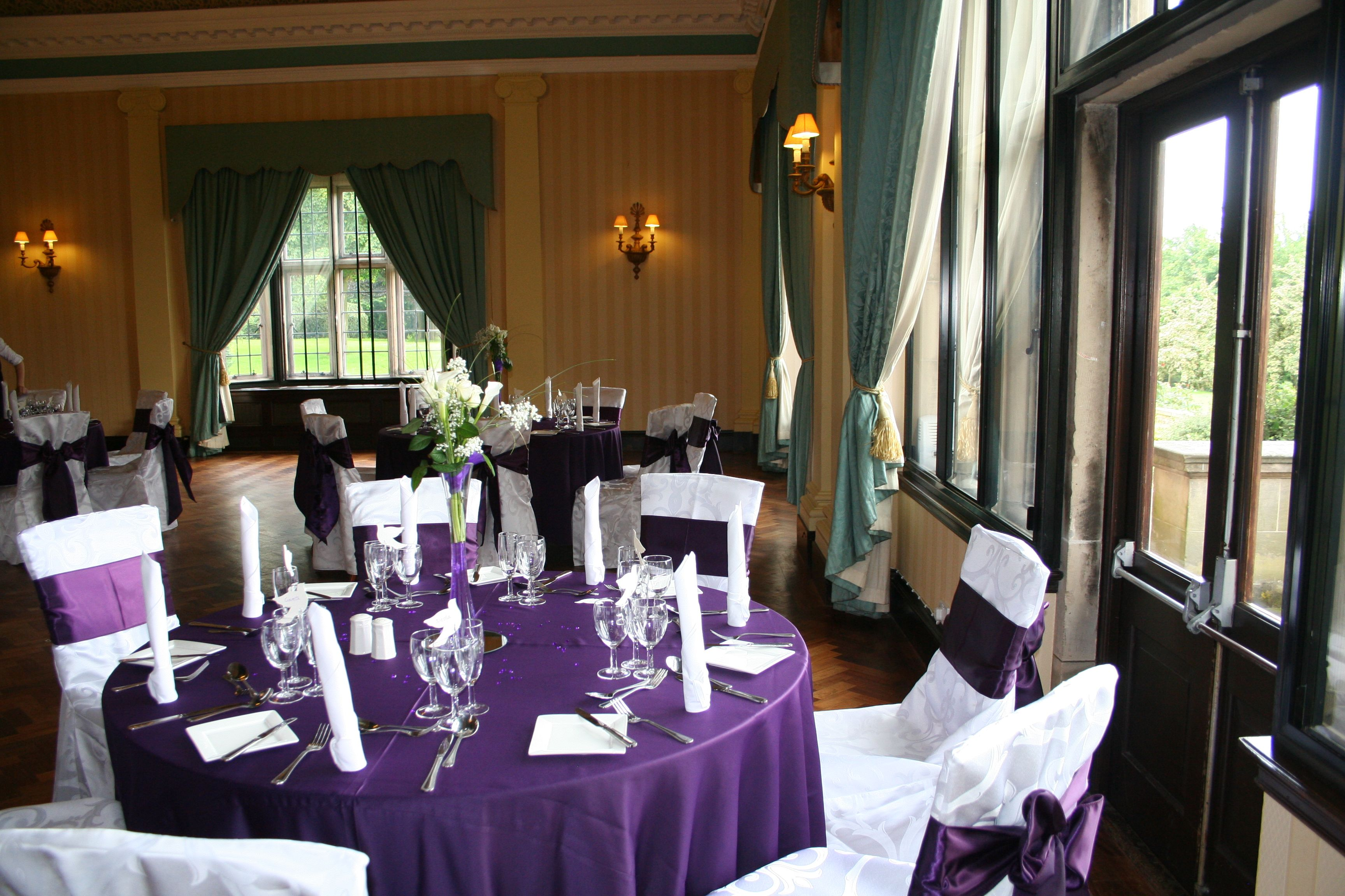 Dark Purple Table Linen White Damask Covers Sashes