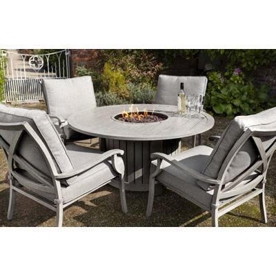 Hartman Portland Lounge Gas Fire Pit Set (Platinum)   (PORSET05)   Garden  Furniture World