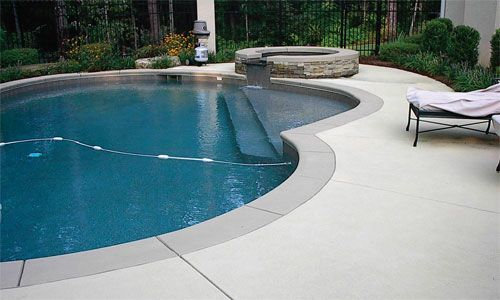 Colored concrete coping around pool google search outside pinterest concrete interior for Painting aluminum swimming pool coping