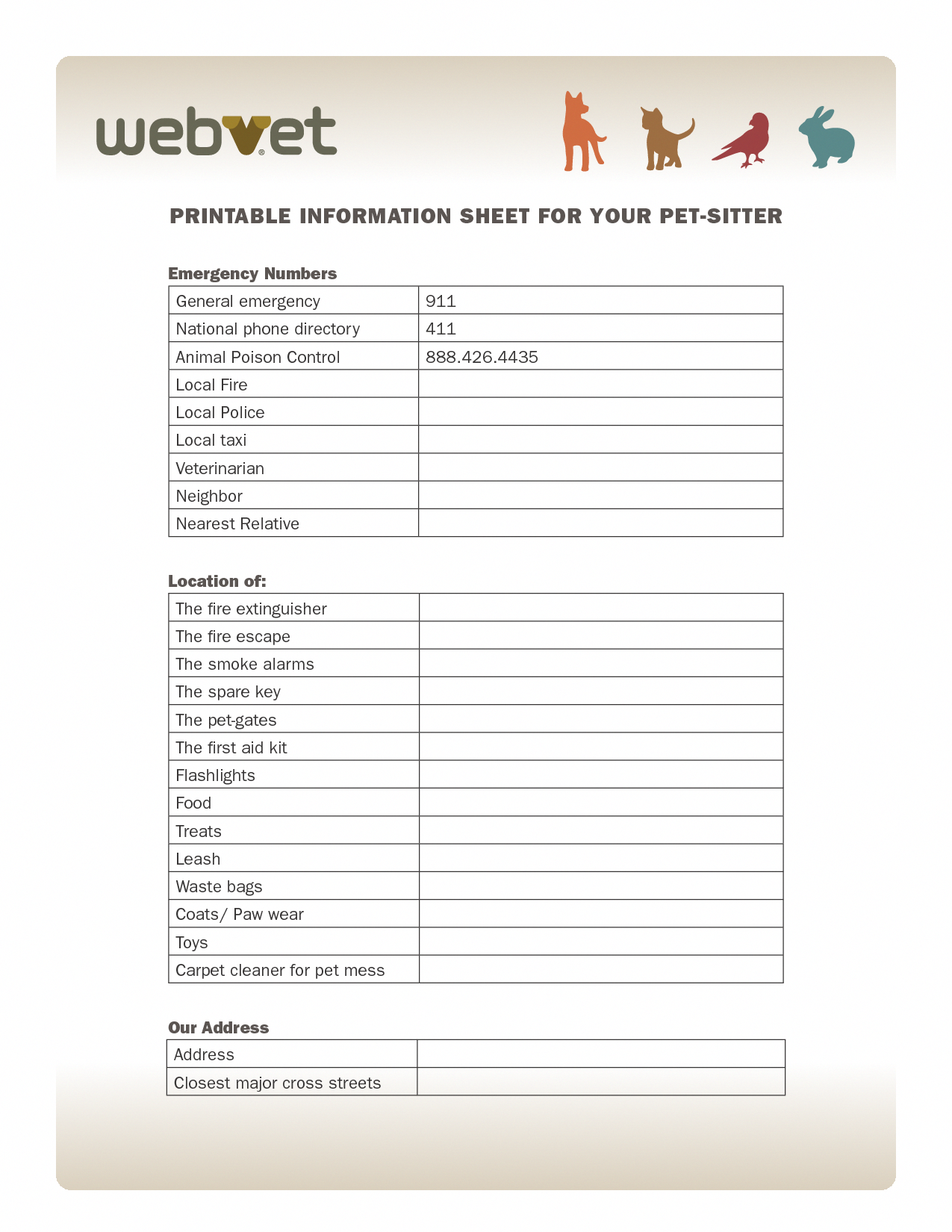 pet sitter information sheet printable free you can get