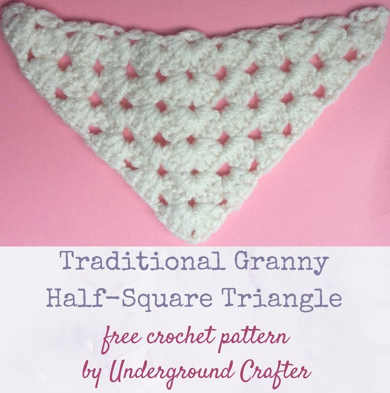 Crochet pattern: Traditional Granny Half-Square Triangle in Red ...