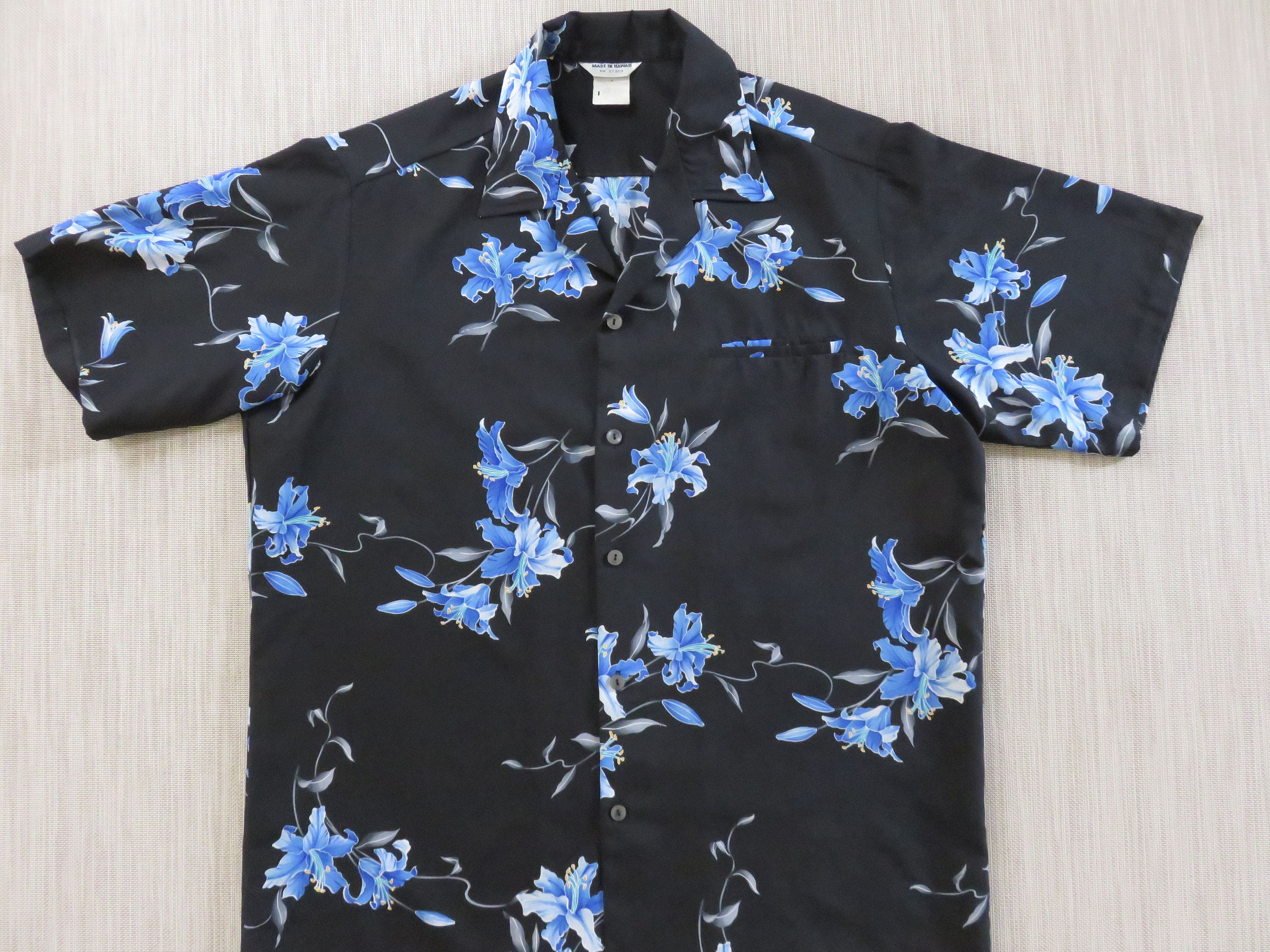 Vintage mens black Hawaiian button up shirt with purple and blue floral print
