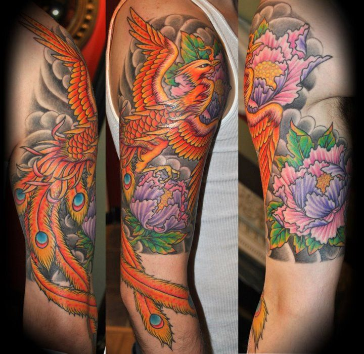 Colored Phoenix Sleeve Tattoo For Men: Phoenix Tattoo - Half Sleeve