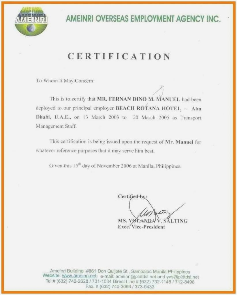 Sample Certificate Of Employment Hotel Letter Of Separation From Inside Certificate Of Service Template Free 10 Certificate Templates Lettering Certificate