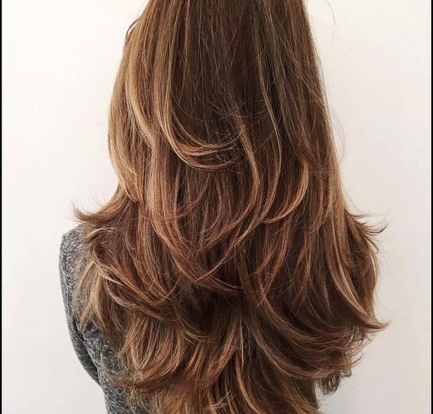 Stufenschnitt lange haare | Haarschnitt lang, Haarschnitt ...