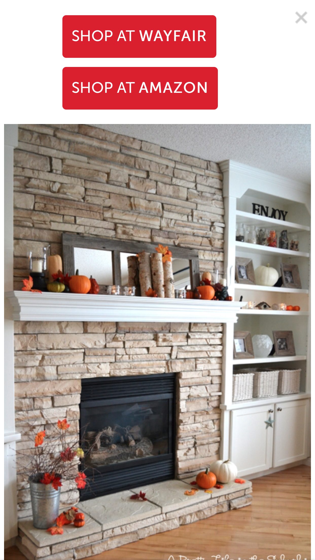 Just Like My Fireplace With Only One Bookcase To The Side Love The Organization Decor Home Fireplace Home Decor Stacked Stone Fireplaces