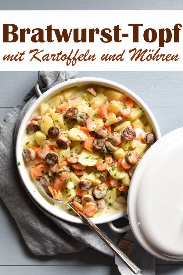 Bratwurst-Topf. Mit Kartoffeln und Möhren.