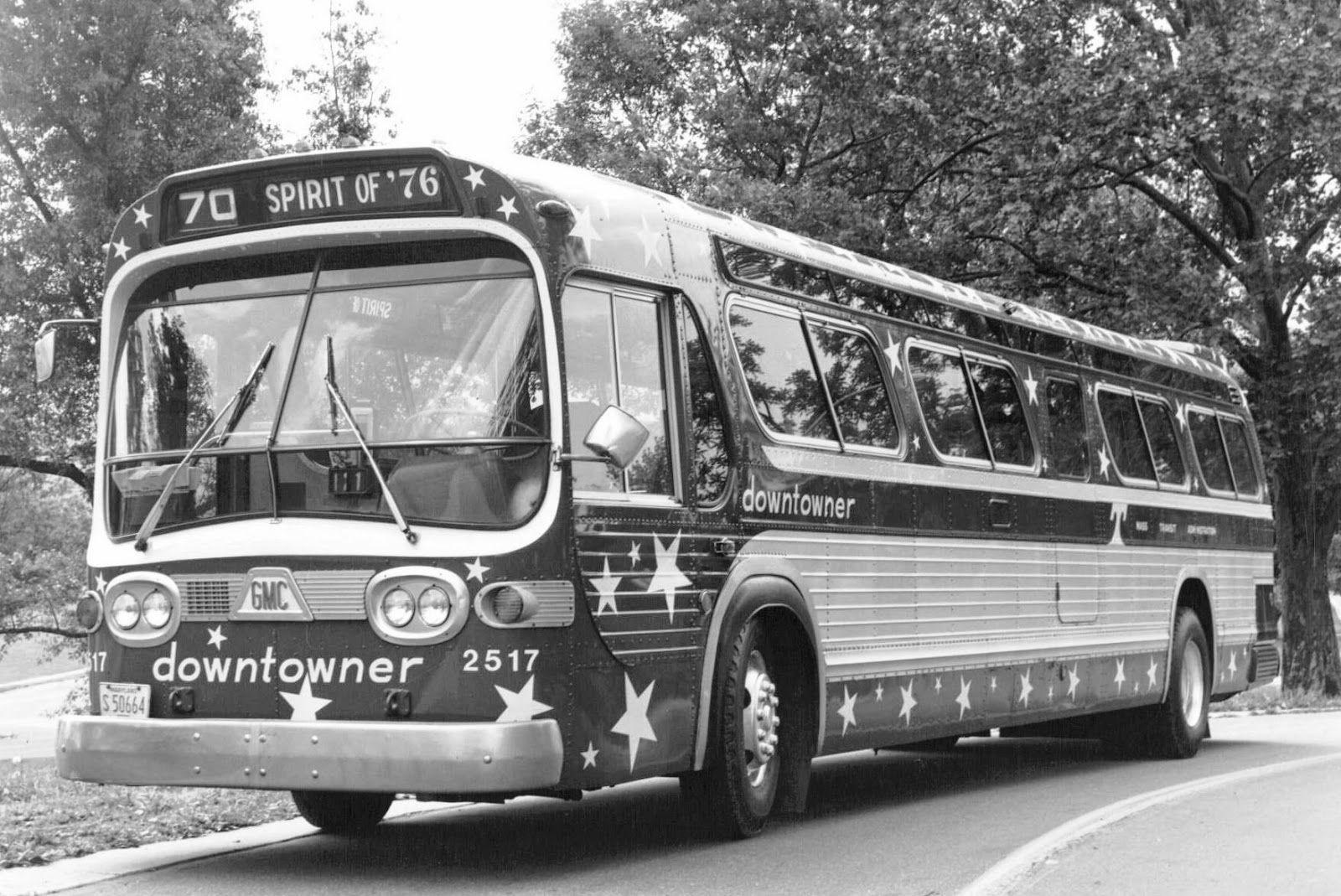 Baltimore GM Fishbowl Spirit of 76 Downtowner bus Retro