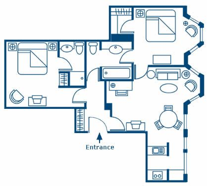 floor plan - two bedroom residence of ascott london mayfair