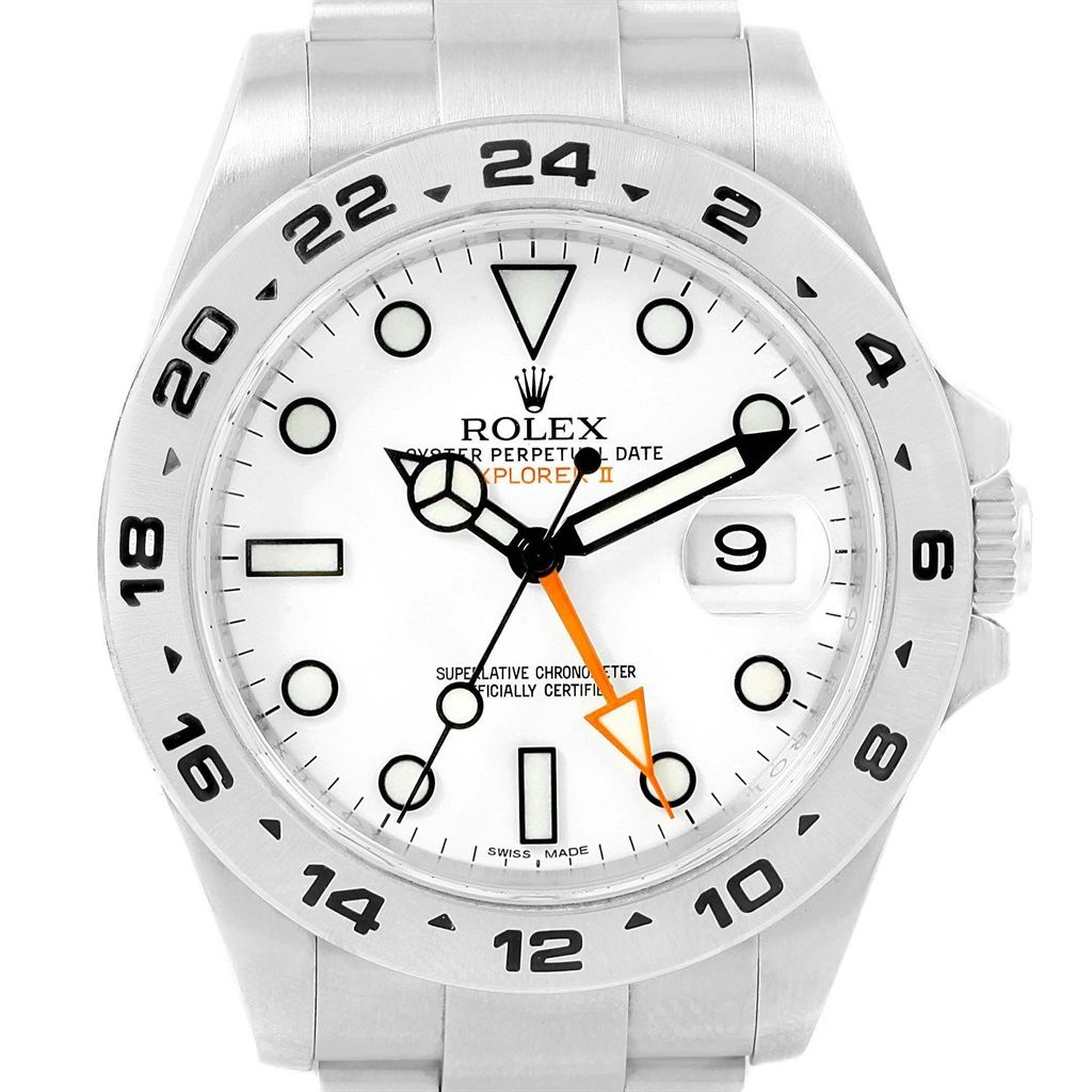 rolex explorer ii white dial stainless steel watch