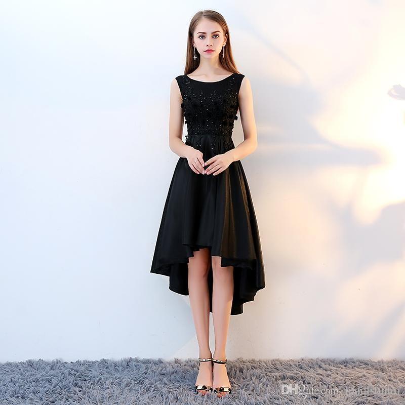Hi-lo Prom Dresses,Black Lace Prom Dress,Applique Prom