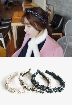Miamasvin Elegant Embellished HeadbandA very elegant and posh headband to add a glamorous touch to your look. Feel like a princess with this headband that can work as your pretty little crown.- Pearl and ribbon embellishments- Stretch headband- Colors: Navy, Black, Ivory