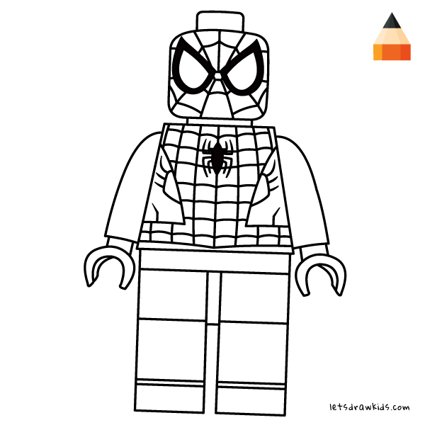 how to draw lego spiderman