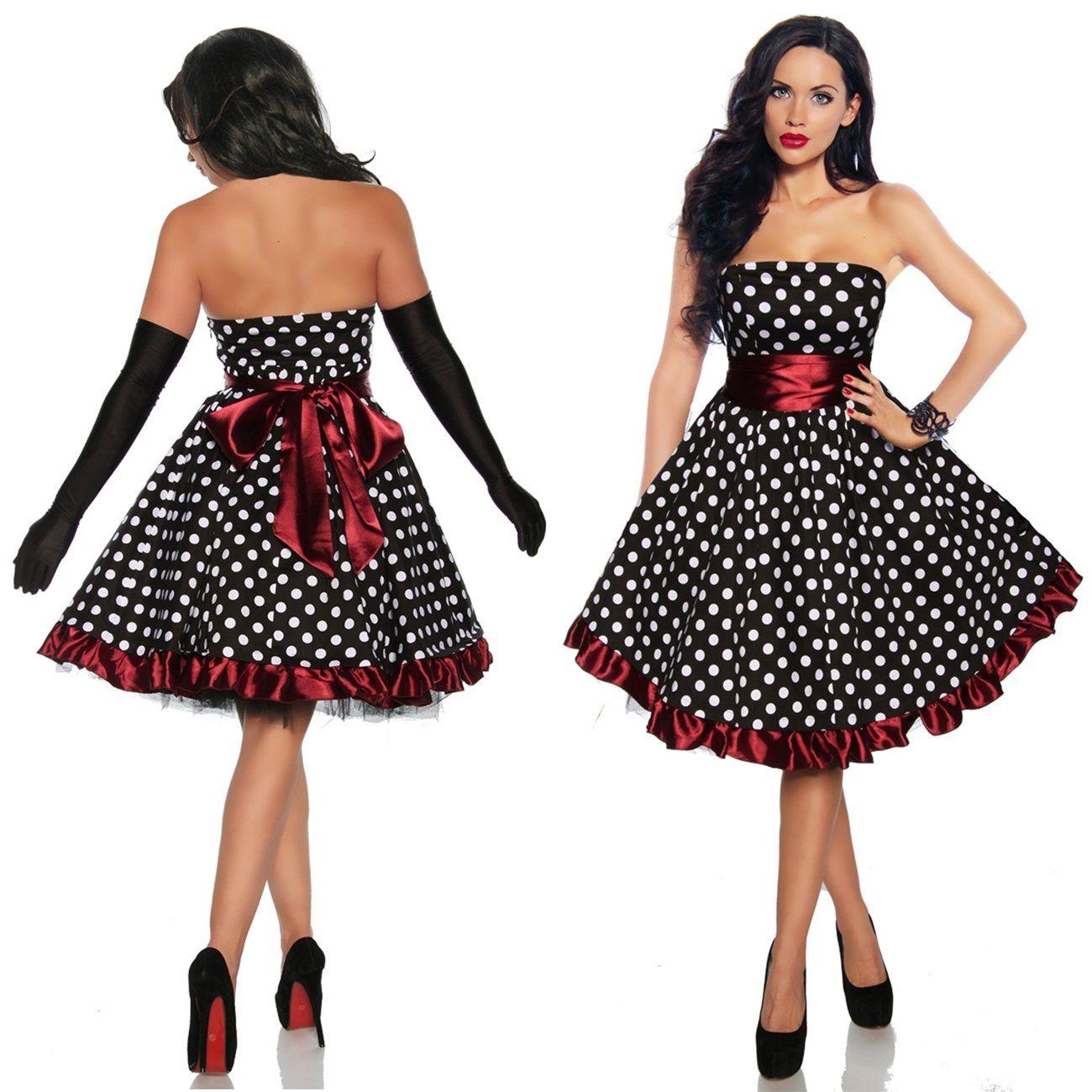 Rockabilly Kleid, Vintage, Pin Up, Burlesque, schwarz weiss rot, Gr ...