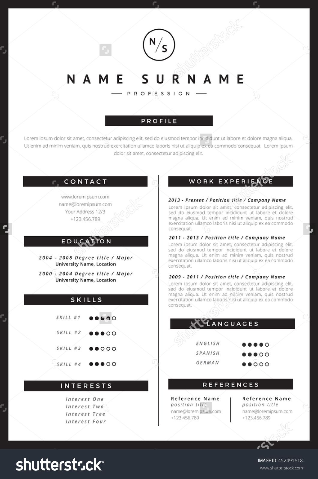 cool, simple Resume template, Templates, Company names