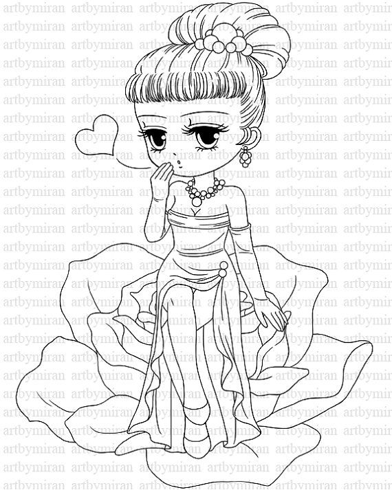 Valentine Digital Stamp, Digi Stamp, Cute Girl Coloring page, Printable Line art for Card and Craft Supply, Art by Mi Ran Jung