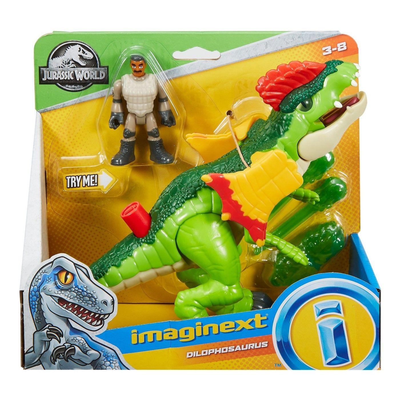 Fisher Price Jurassic World Imaginext Dilophosaurus Dinosaur /& Agent Figure NEW