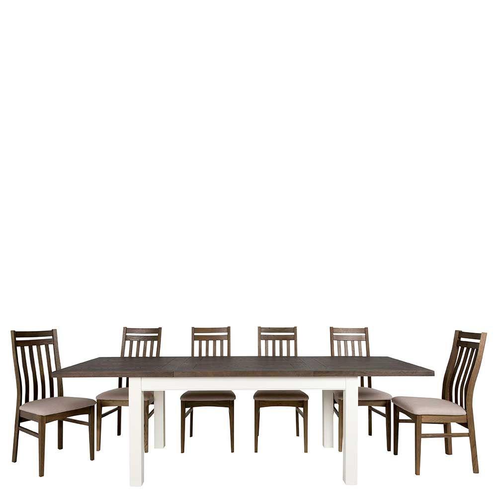 Esstisch mit Stühlen in Weiß Braun ausziehbar (7-teilig) Jetzt ...