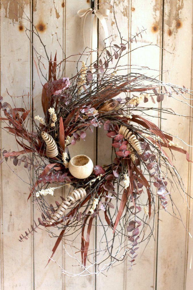 Dried Flower Wreath Wreath Eucalyptus Wreath by TheLinnetsWing
