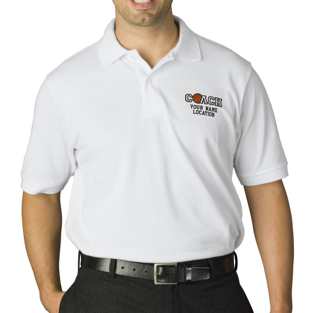Personalized Basketball Coach Your Name Your Game Embroidered Polo