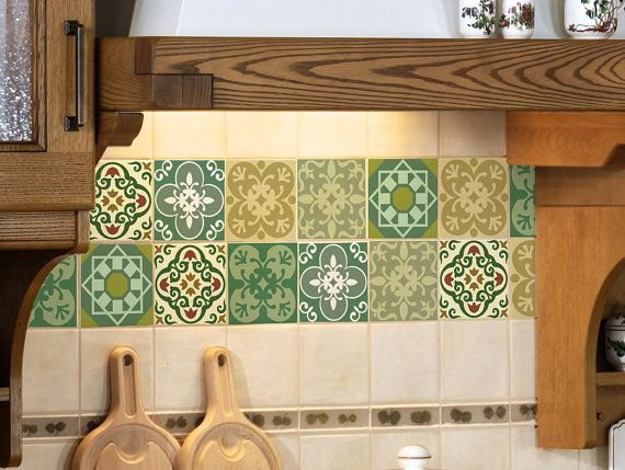 Set Stickers For Tiles Intricate Moroccan Style Design Green Hues Made