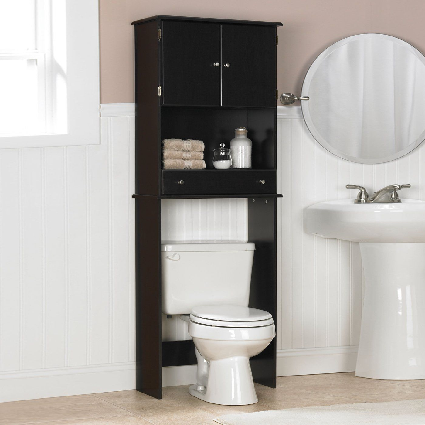 Over Commode Cabinet Home Furniture Showroom Black Cabinets Bathroom Bathroom Shelf Decor Bathroom Space Saver