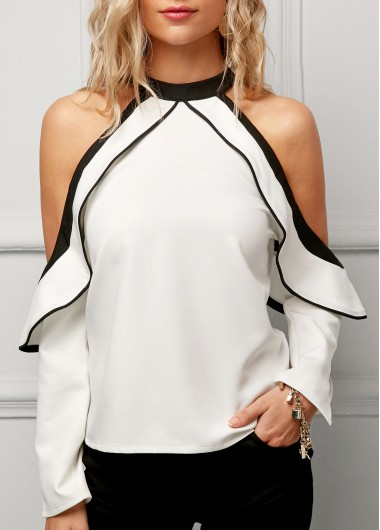 61967fe7f0933 Loving this polished Long Sleeve Frill Cold Shoulder White Blouse. The cold  shoulder gives it a sexy