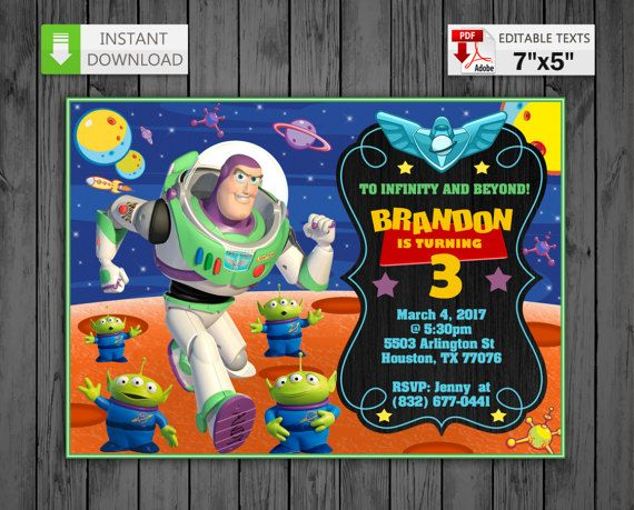 Printable Invitation Buzz Lightyear In Pdf With Editable Texts Buzz Lightyear Party Invitation Chalkboard Edit And Print Yourself Buzz Lightyear Party Printable Invitations Buzz Lightyear