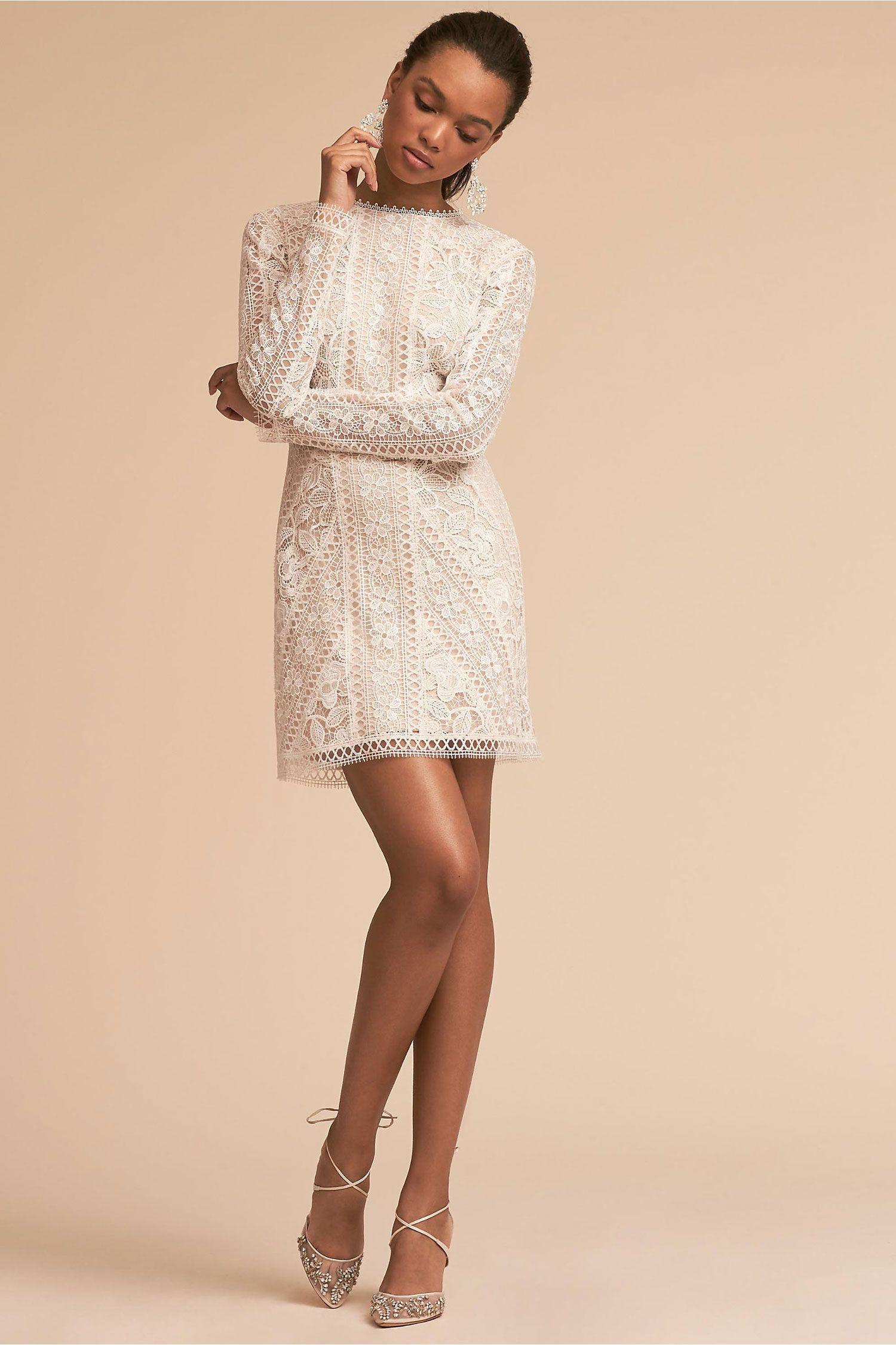 Cason Long Sleeve Lace Mini Dress Tadashi Shoji Bhldn Rehearsal Dinner Bachelorette Party Bri Bridal Shower Dress Rehearsal Dinner Dresses Little White Dresses [ 2252 x 1500 Pixel ]