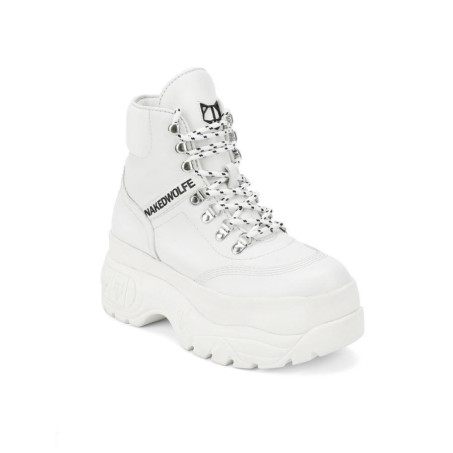 white platform sneaker boots