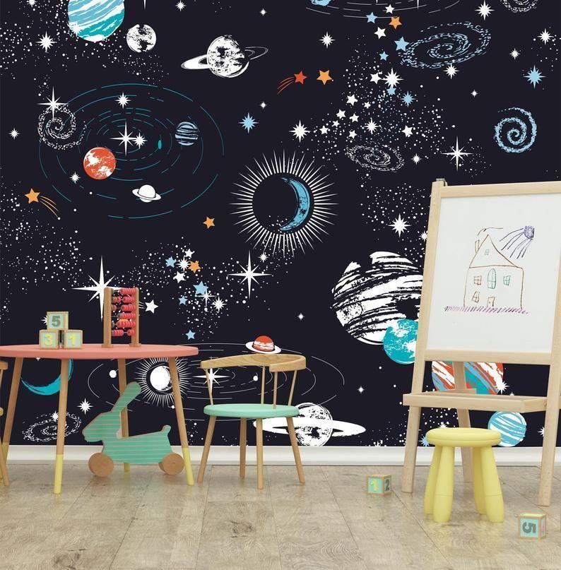Space Galaxy constellation Wallpaperremovable black | Etsy ...