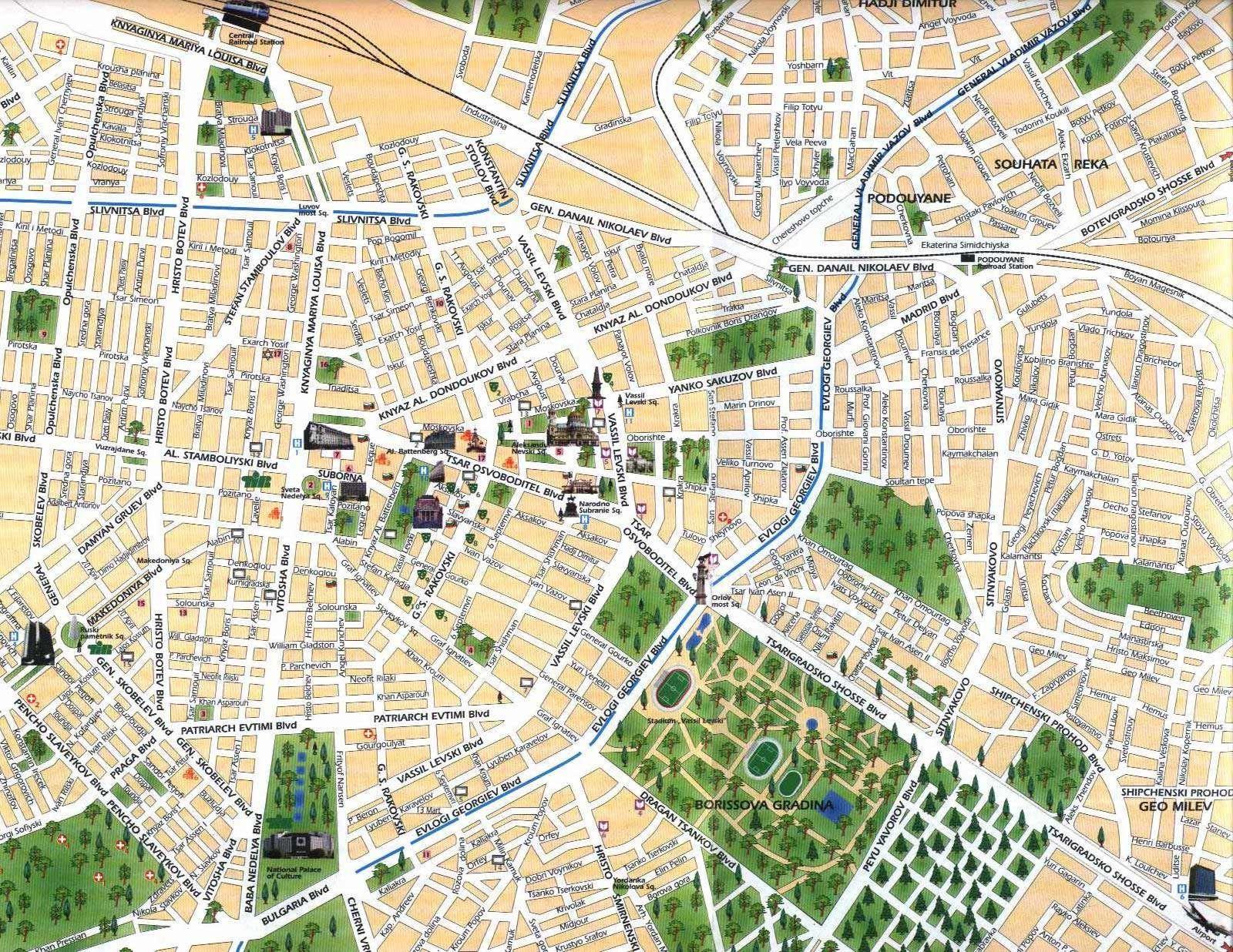 Sofia Center Map Sofia Bulgaria Mappery Sofia Sofia Bulgaria Holiday City