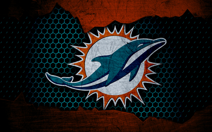Download wallpapers Miami Dolphins, 4k, logo, NFL