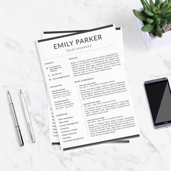 Professional Resume Template  Cover Letter For Word  Buy Here